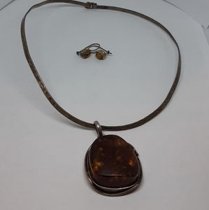 Huge Baltic Amber Necklace and Earrings